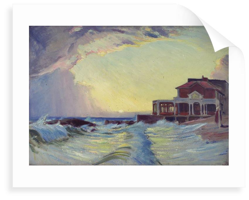 A beach scene with a restaurant by John Everett