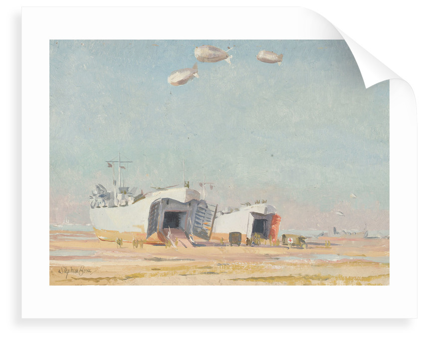 LSTs on the beach at Courseulles by Stephen Bone