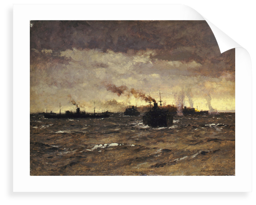 Raider in sight: convoy dispersing by Norman Wilkinson
