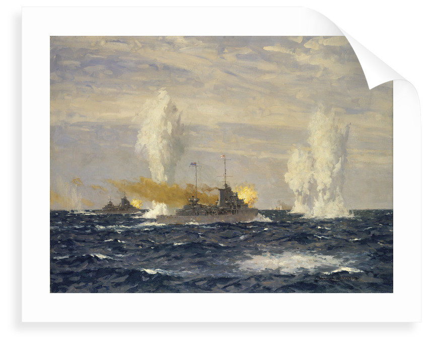 Action off the River Plate, 13 December 1939: pursuit of the 'Admiral Graf Spee' by Norman Wilkinson