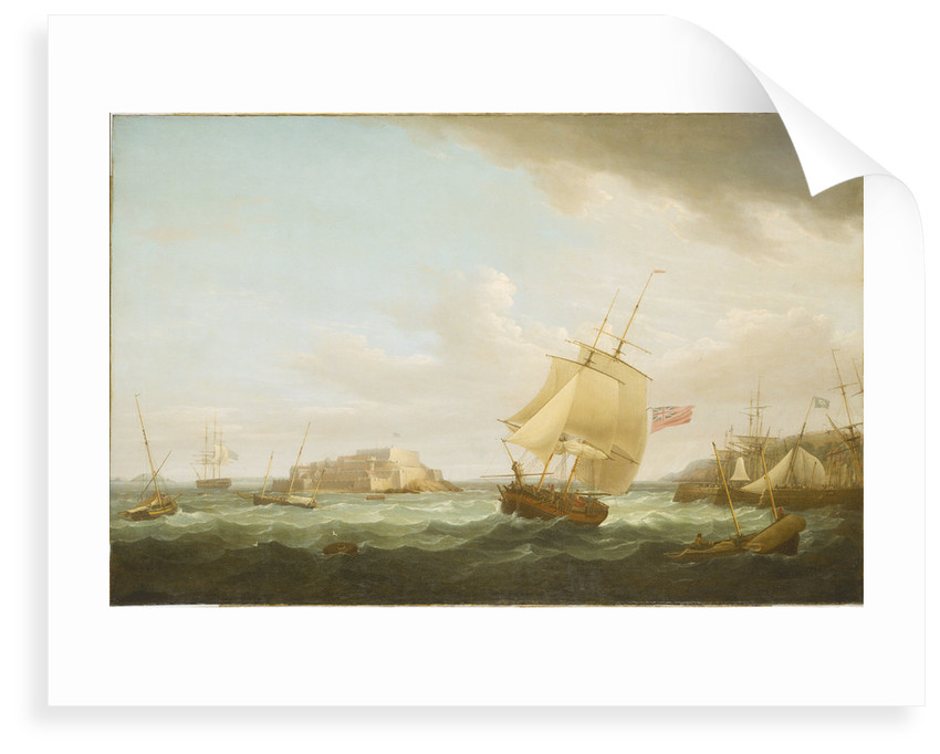 A merchantman and other vessels off Castle Cornet, Guernsey by Thomas Whitcombe