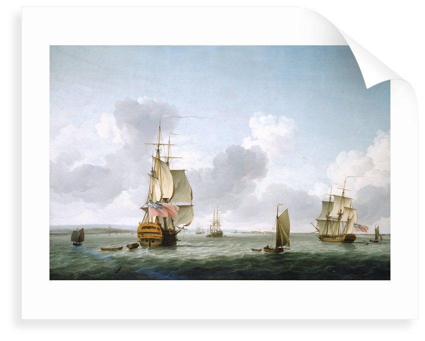 A two-decker and a frigate running into the Thames off Gravesend by Charles Brooking