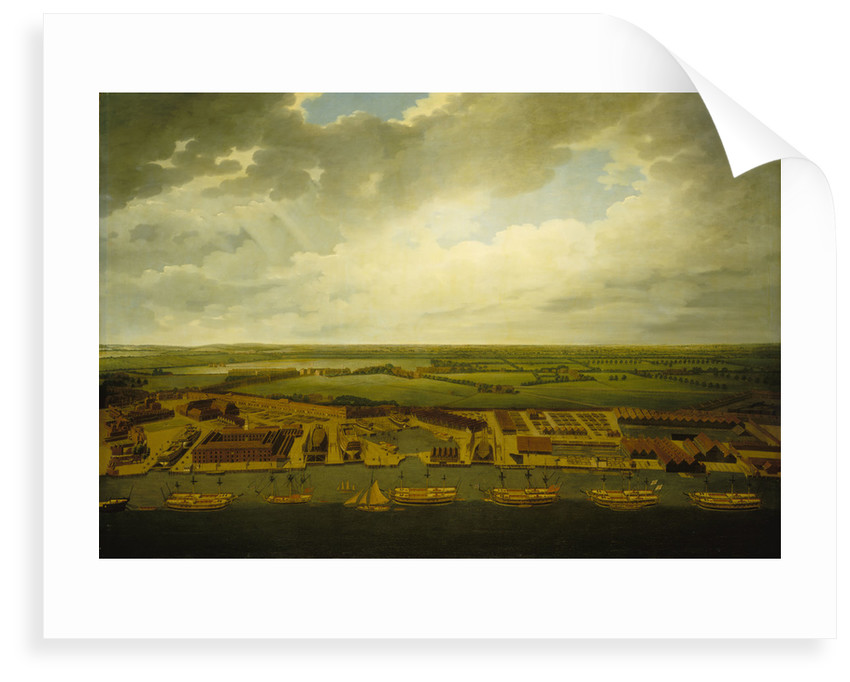 Aerial view of Deptford Dockyard by Joseph Farington