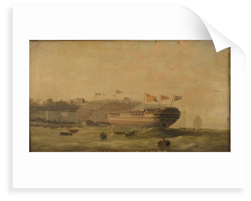 Launch of a ship at Plymouth by unknown