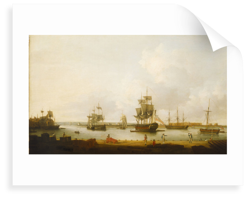Ships off the gun wharf at Portsmouth, 1770 by Dominic Serres the Elder