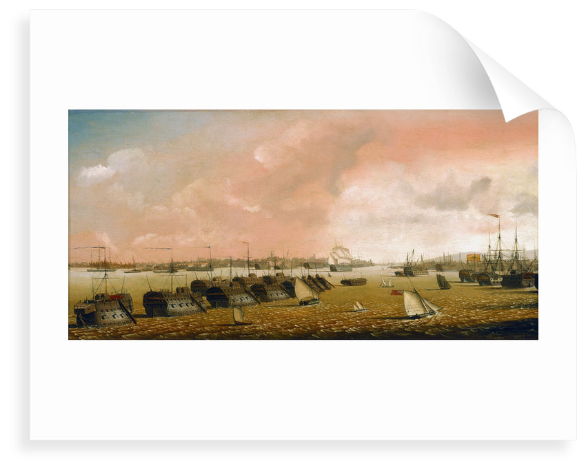 Prison hulks in Portsmouth harbour by Ambrose-Louis Garneray