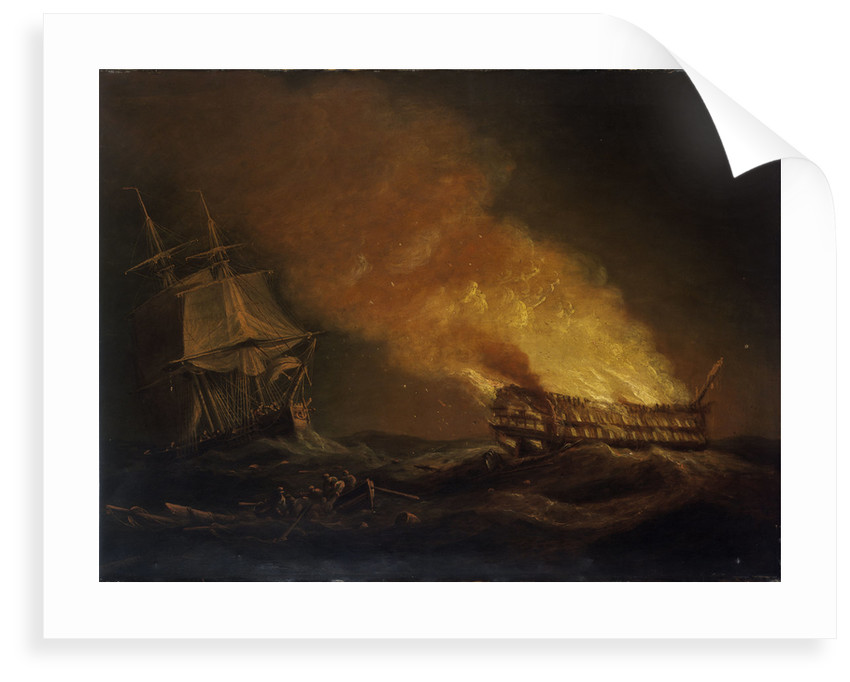 Loss of the East Indiaman 'Kent': the burning hulk, 1 March 1825 by Thomas Luny