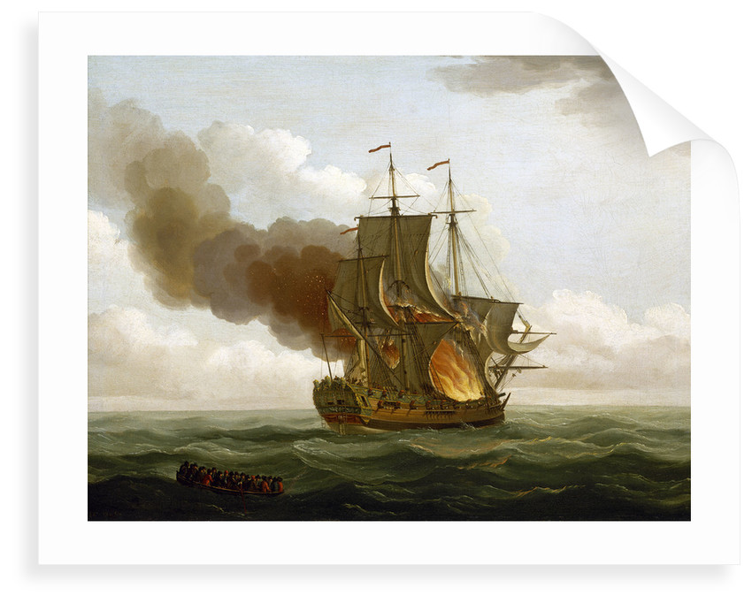 The Luxborough galley on fire, 25 June 1727 by John Cleveley