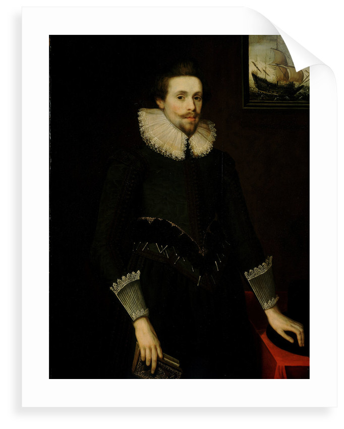 Portrait of a naval officer aged 24, 1619 by British School