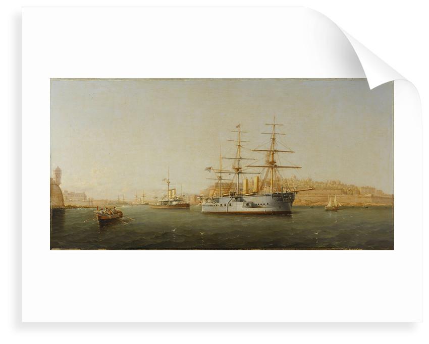 HMS 'Alexandra' leaving Malta by G. Gianni