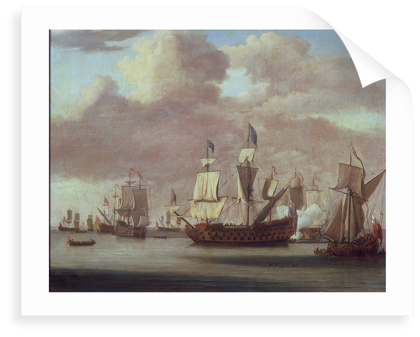 Calm: HMS 'Royal James', a royal yacht and other shipping by Willem van de Velde the Elder