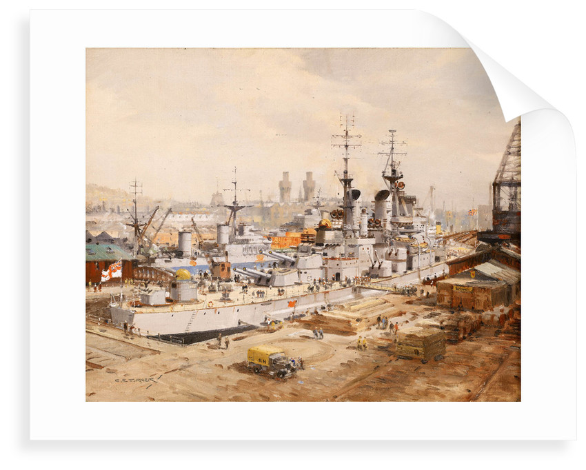 Dockyard Scene: HMS 'Vanguard' in dry-dock by Charles E. Turner
