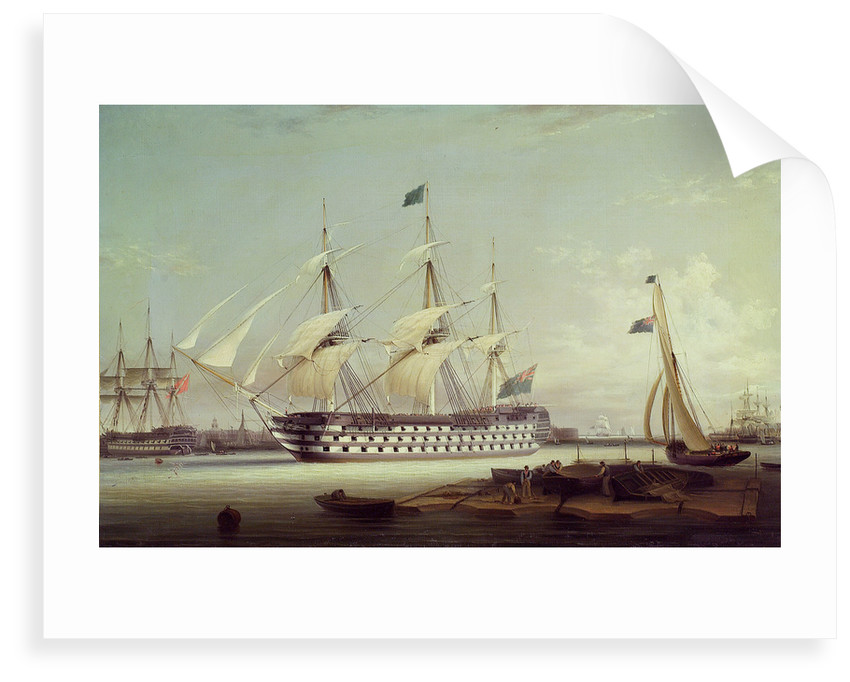 HMS 'Britannia' entering Portsmouth harbour by Robert Strickland Thomas