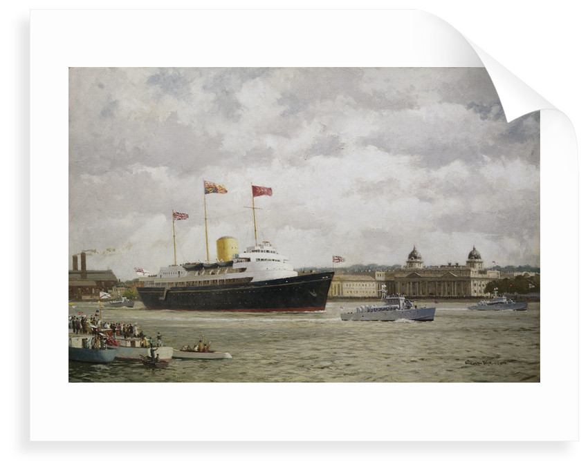 HMY 'Britannia' arriving at Greenwich, 15 May 1954 by Norman Wilkinson