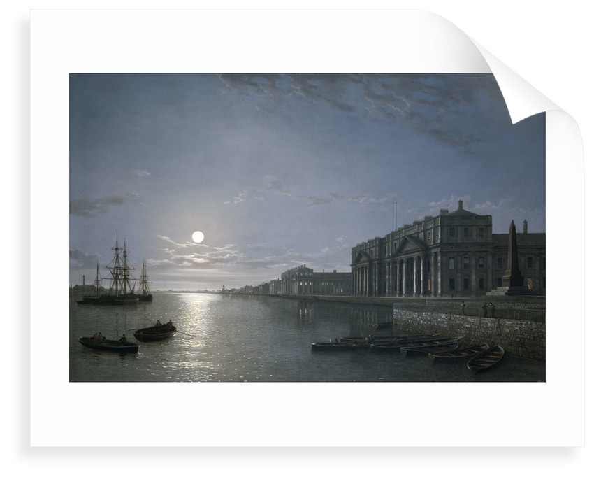 The Thames and Greenwich Hospital by moonlight by Henry Pether