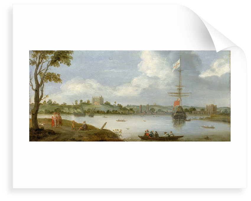 Greenwich Palace from the north east with a man-of-war by unknown