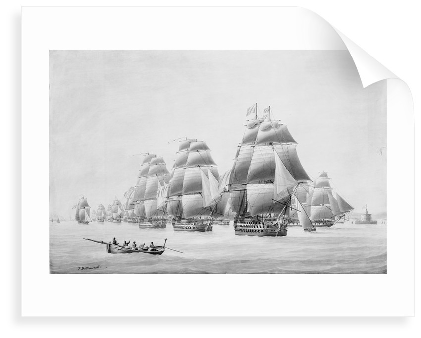 Earl St Vincent and fleet leaving Lisbon in the 'Ville de Paris', 31 March 1797 by Thomas Buttersworth