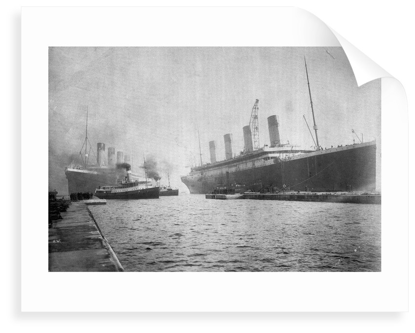 Passenger liner 'Titanic' (Br, 1912) Oceanic Steam Nav Co Ltd, (Ismay Imrie & Co Ltd, managers) (White Star Line): at Belfast with the 'Olympic'; bow just out of picture by unknown