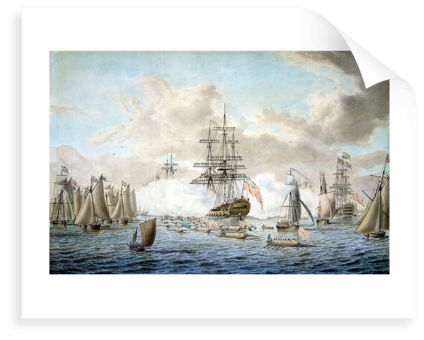 George III reviewing the Fleet at Spithead, 22 June 1773, depicting HMS 'Royal Oak' by John Cleveley