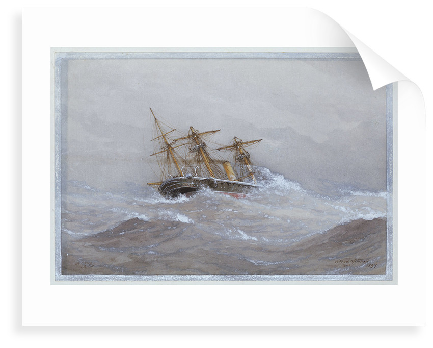 HMS 'Calliope' in heavy seas by William Frederick Mitchell