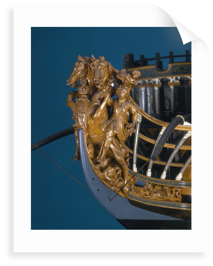 Full hull model of First Rate 100-gun warship 'Royal George' (1756) by Thomas Burroughs