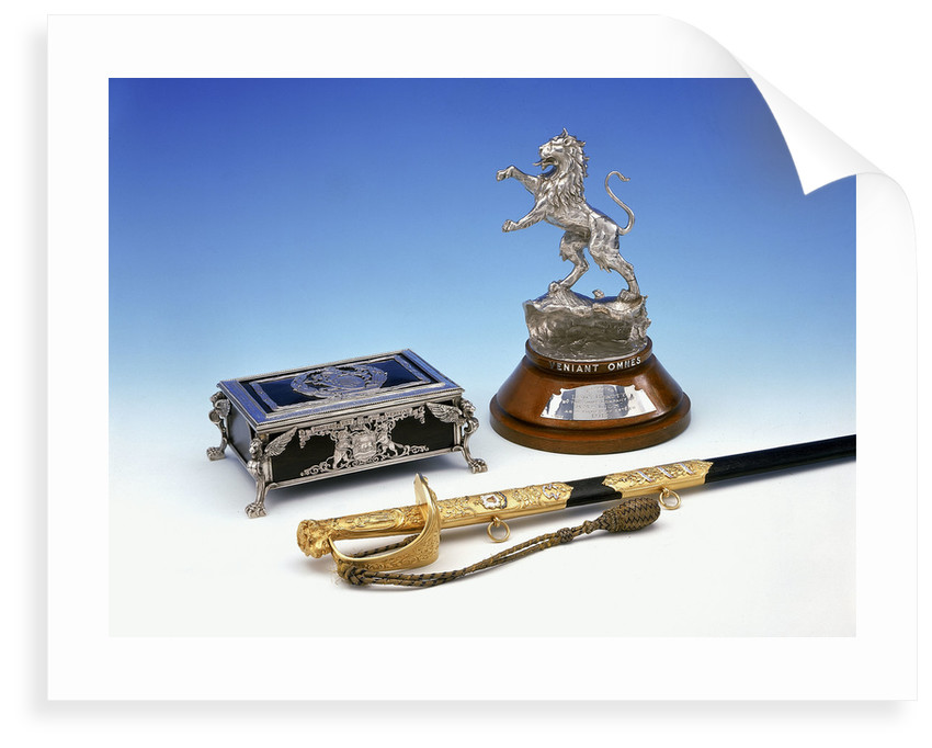 Casket, statuette and sword by Mappin & Webb