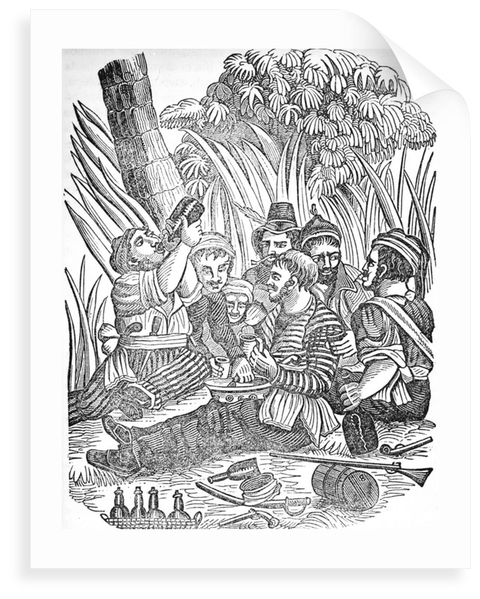 Bartholomew Roberts (1682-1722) or 'Black Bart''s pirate crew carouses at Old Calabar river in West Africa. by unknown