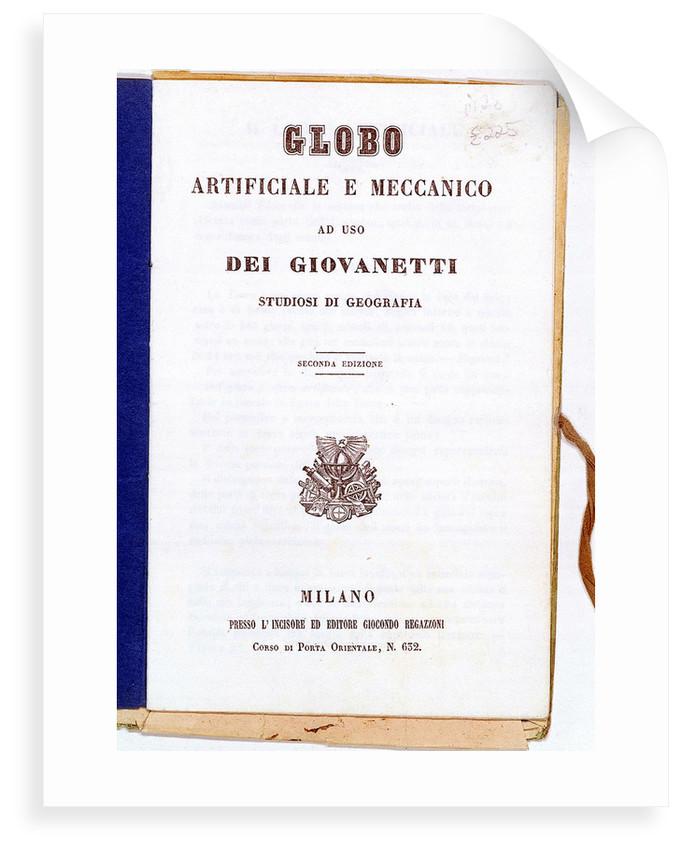 Globe, manual cover by Giocondo Regazzoni