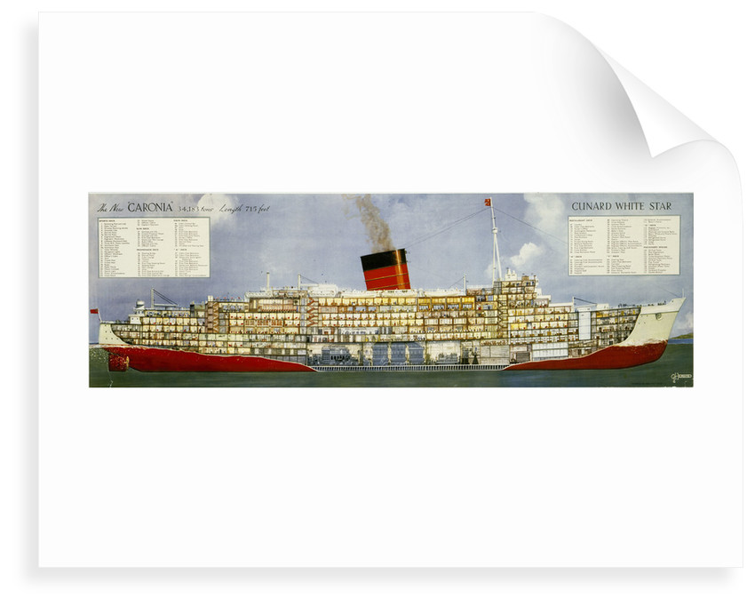 The New 'Caronia', Cunard White Star Line Poster by unknown