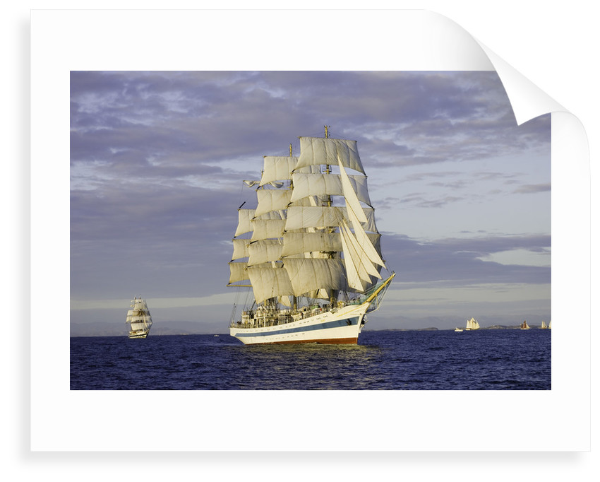 The Russian full-rigged ship 'Mir' at race start at sundown, during Bergen to Den Helder Tall Ships Race 2008 by Richard Sibley