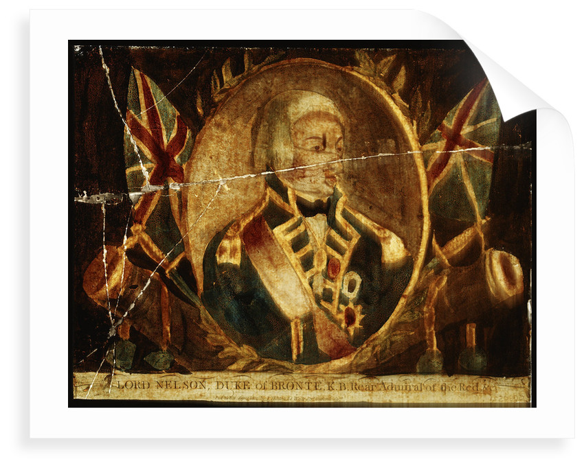 Picture on glass: Lord Nelson, Duke of Bronte K.B. Rear Admiral of the Red by J. Hinton