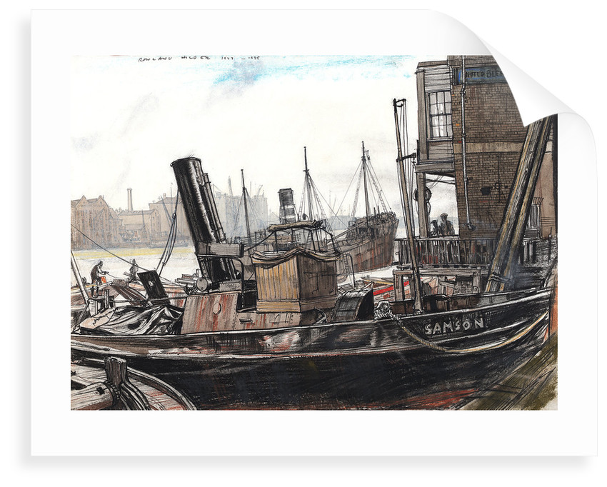 The Thames at the Angel, with the tug 'Samson' in the foreground by Rowland Hilder