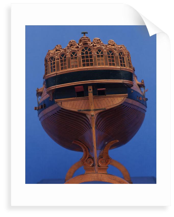 22-gun sloop, stern view, detail by unknown