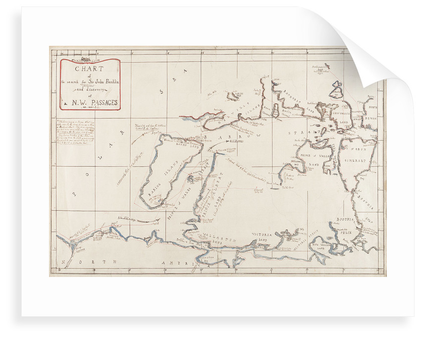 Chart of the search for Sir John Franklin and discovery of the North West Passage by Edward Augustus Inglefield