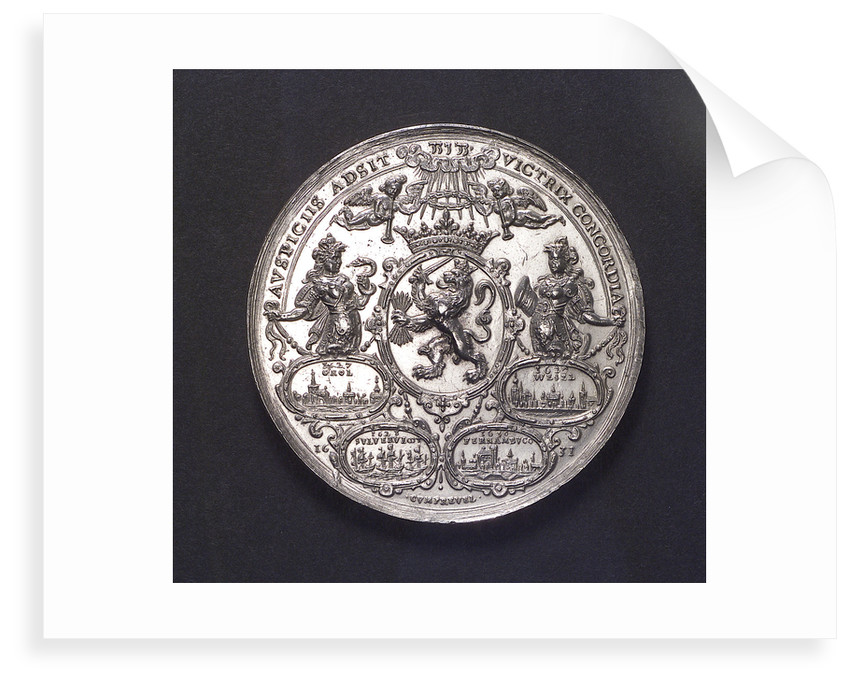 Medal commemorating the capture of the Spanish silver fleet off Matanzas, 1628; reverse by A. van der Wilge