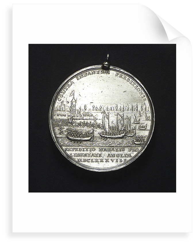 Medal commemorating the landing of William of Orange at Torbay, 1688; reverse by R. Arondeaux
