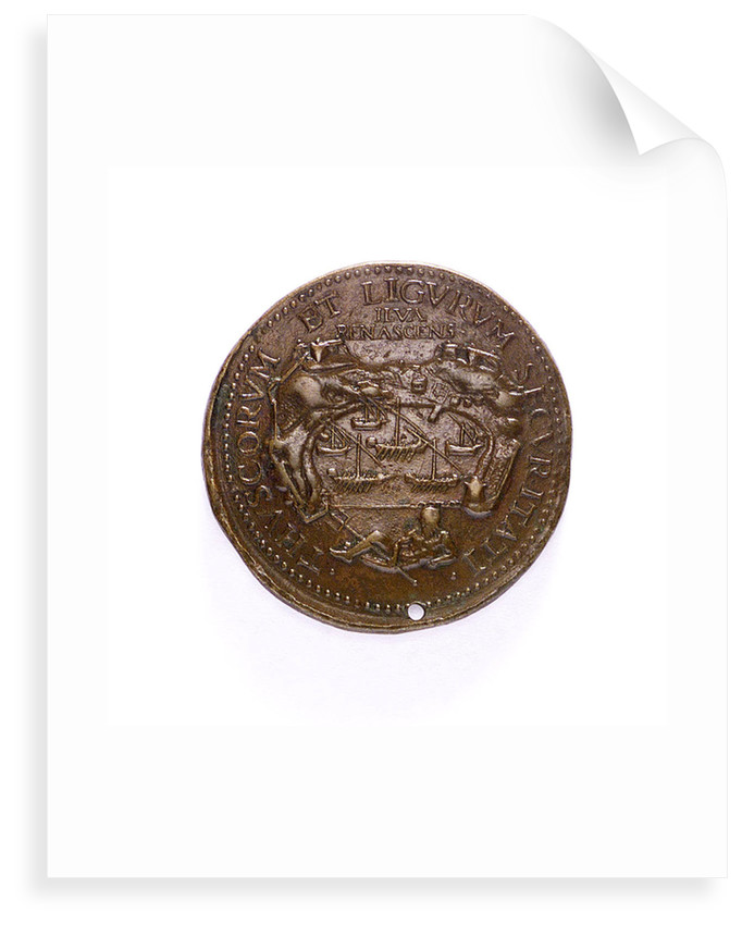 Medal commemorating the reconstructed Port of Elba; reverse by D. Poggini
