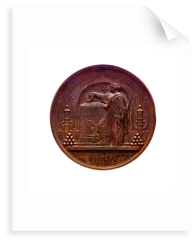 Medal commemorating the destruction of the Turkish fleet at Sinope, 1853; reverse by L.J. Hart