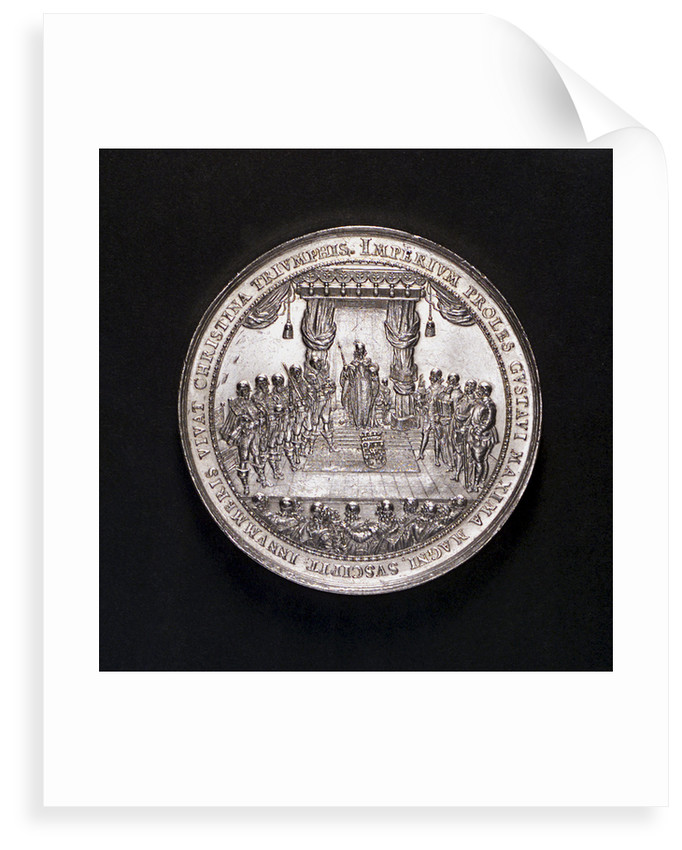 Medal commemorating the accession of Queen Christina and the Battle of Femern, 1644; obverse by S. Dadler