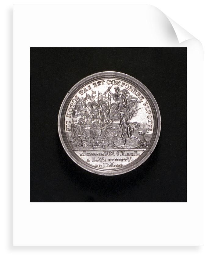Medal commemorating the Battle of Cape Passaro, 1718; reverse by G.W. Vestner