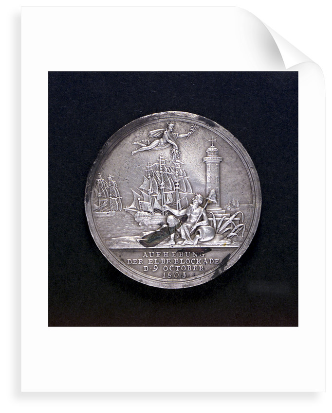 Medal commemorating the raising of the blockade of the Elbe, 1805; obverse by D.F. Loos