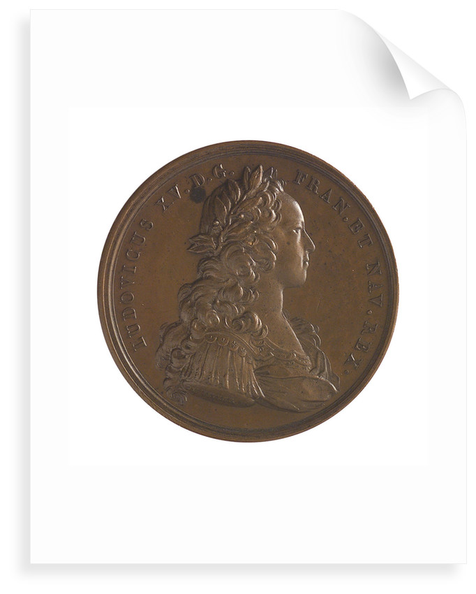 Medal commemorating the defence of Guadeloupe, 1721; obverse by J. Duvivier