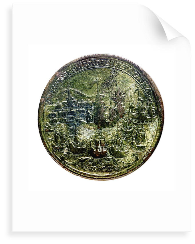 Medal commemorating Admiral Edward Vernon (1684-1757), Admiral Sir Chaloner Ogle (1681?-1750) and General Thomas Wentworth, the attack on Cartagena, 1741; reverse by I. Giles