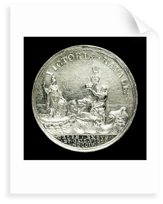 Medal commemorating the capture of Gibraltar and action off Malaga, 1704; reverse by John Croker