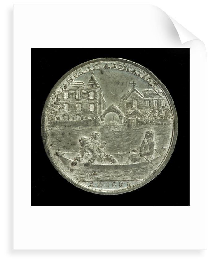 Medal commemorating the abdication of King James II, 1688; reverse by unknown