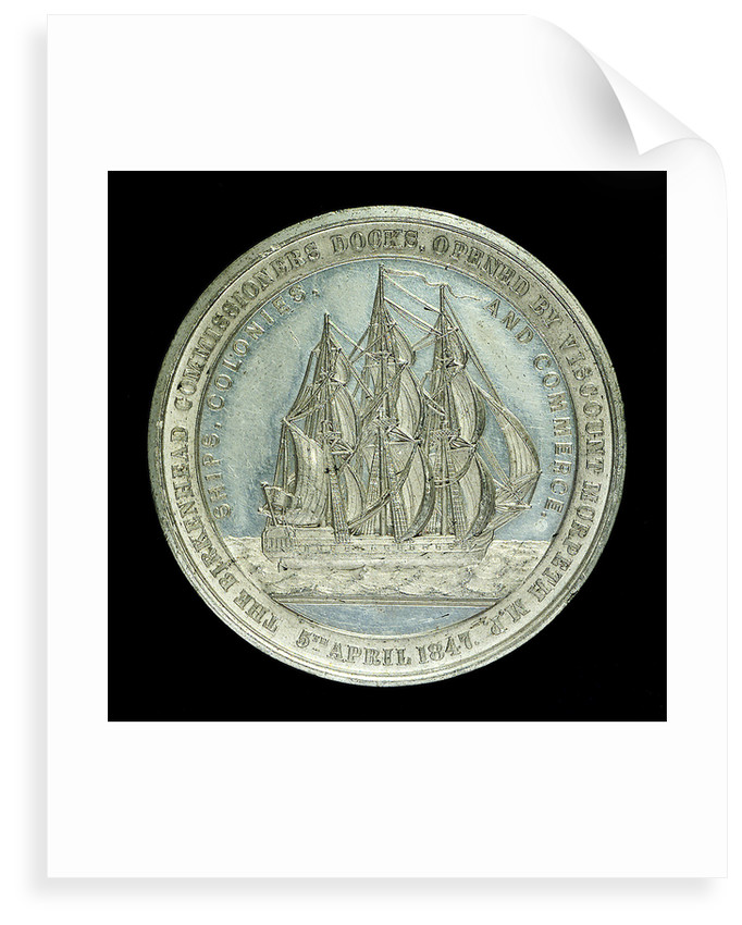 Medal commemorating the opening of the Birkenhead docks, 1847; obverse by unknown