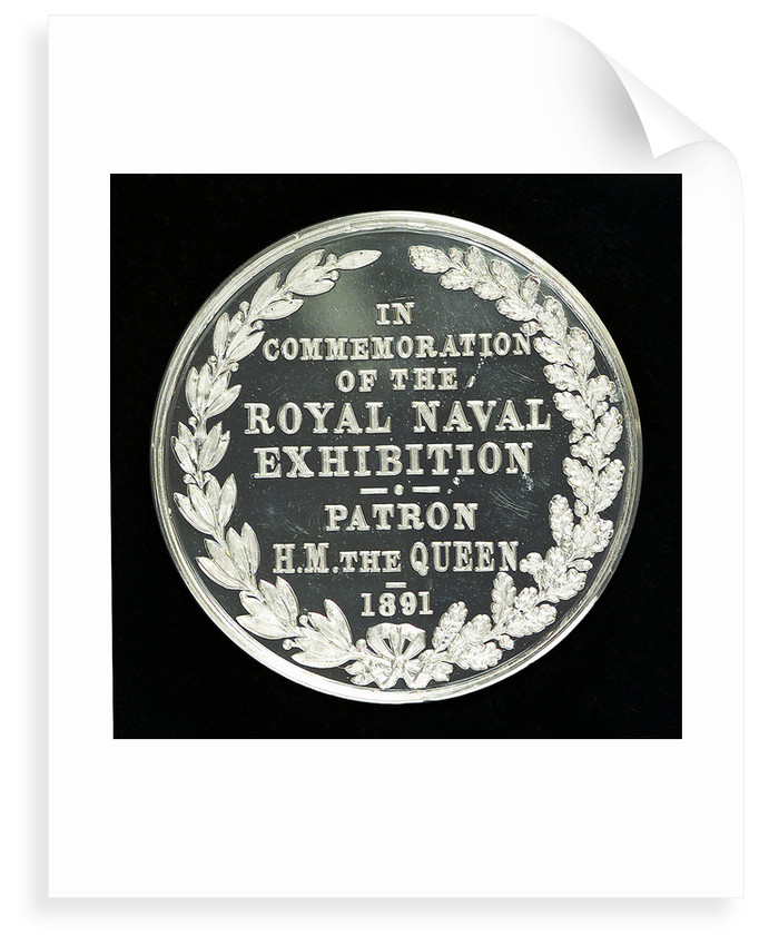Medal commemorating The Royal Naval Exhibition, 1891; reverse by A.E. Warner