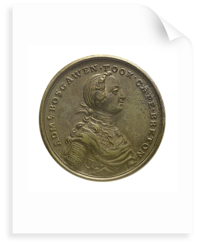 Counter commemorating Admiral Edward Boscawen (1711-1761) and the capture of Louisbourg, 1758; obverse by unknown