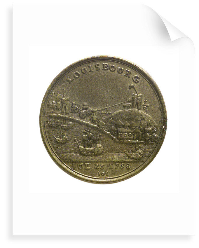 Counter commemorating Admiral Edward Boscawen (1711-1761) and the capture of Louisbourg, 1758; reverse by unknown
