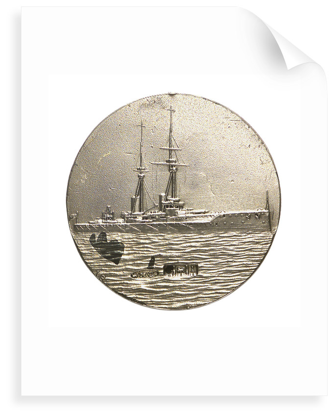 Medalet commemorating HMS 'Bellerophon'; reverse by V.B.